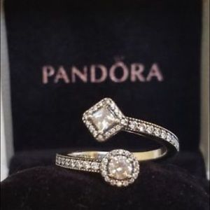 Sparkling square and circle open ring.